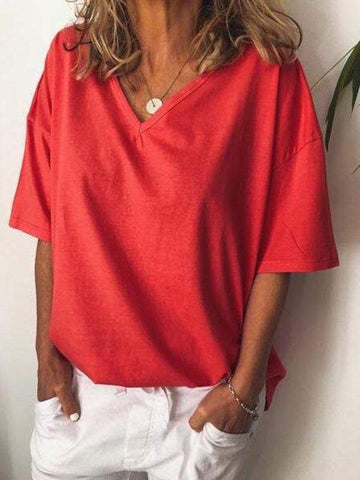wiccous.com Plus Size Tops Red / L Plus size solid color V-neck T-shirt