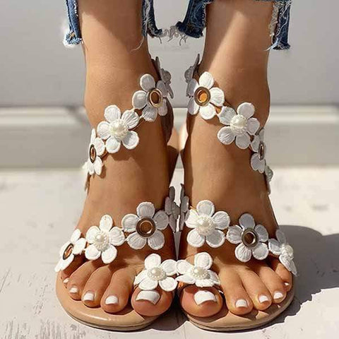 wiccous.com Shoes White / 36 Plus size flower set toe flat beach sandals
