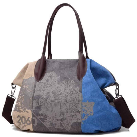 wiccous.com Bags Blue Folk Style Print Canvas Bag