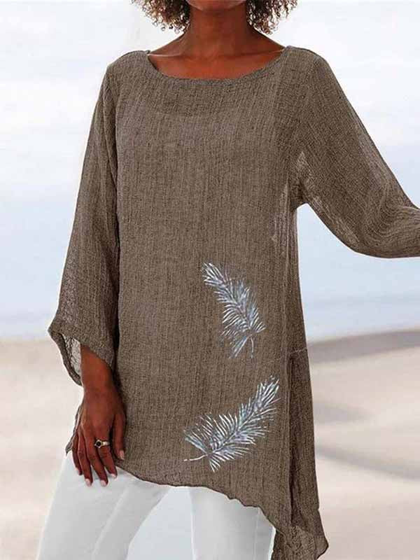 Feather Printed Round Neck Long Sleeve Irregular T-Shirt