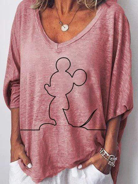 wiccous.com Plus Size Tops Pink / S Mickey Mouse Loose Large Size T-shirt TOPS