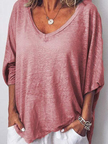 wiccous.com Plus Size Tops Pink / L Plus size solid color V-neck T-shirt