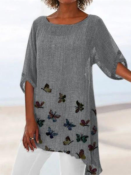 Butterfly Print Crew Neck Casual Tops