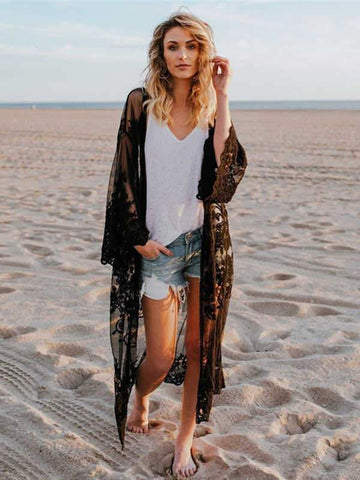 wiccous.com Cover-Ups Black / One Size Mesh embroidered beach sunscreen blouse cardigan