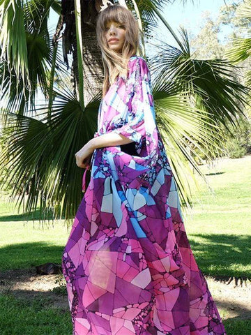 wiccous.com Cover-Ups Purple / One Size Chiffon printed long cardigan beach sunscreen dress
