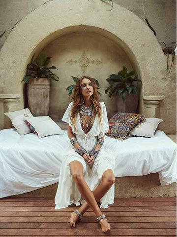 wiccous.com Cover-Ups White / One Size Bohemian lace stitching beach sunscreen dress