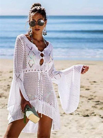 wiccous.com Cover-Ups White / One Size Openwork knit skirt trumpet sleeve beach blouse