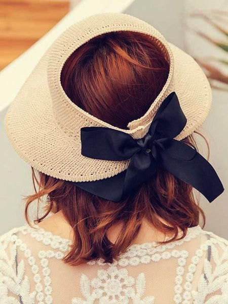 wiccous.com hat Beige Adjustable bow-knot straw hat