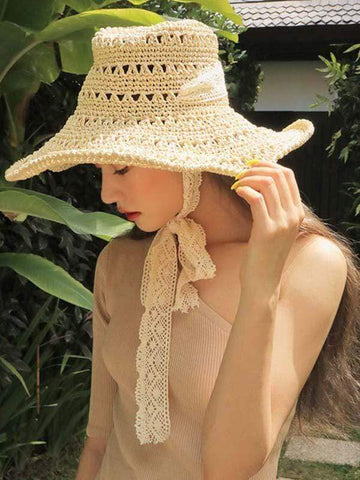 wiccous.com hat Beige Foldable beach straw hat