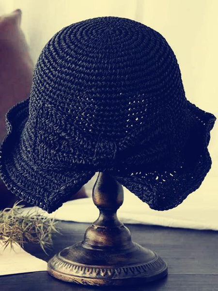 wiccous.com hat Black Bow-Knot Folding Straw Hat
