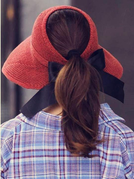 wiccous.com hat Brick red Adjustable bow-knot straw hat
