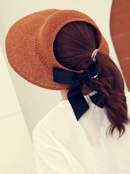 wiccous.com hat Caramel Adjustable bow-knot straw hat