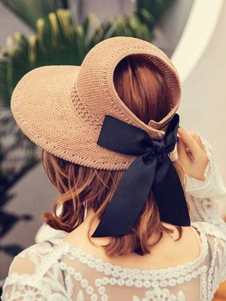 wiccous.com hat Khaki Adjustable bow-knot straw hat