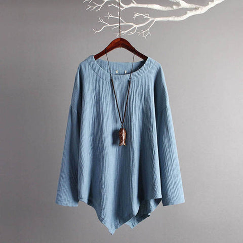 Bamboo & Cotton Irregular hem Color T-shirt