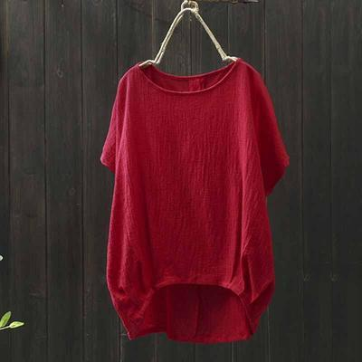 Loose cotton and linen large size top1