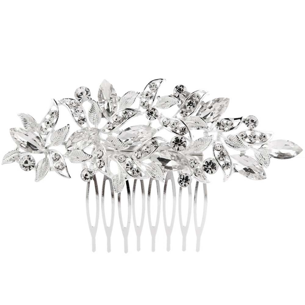 KaLaiXing Bridal Hair Comb Wedding Hair Side Combs Bridal Head Pin Headpiece Crystal Pearls Flower Bride Bridesmaid-Hua24