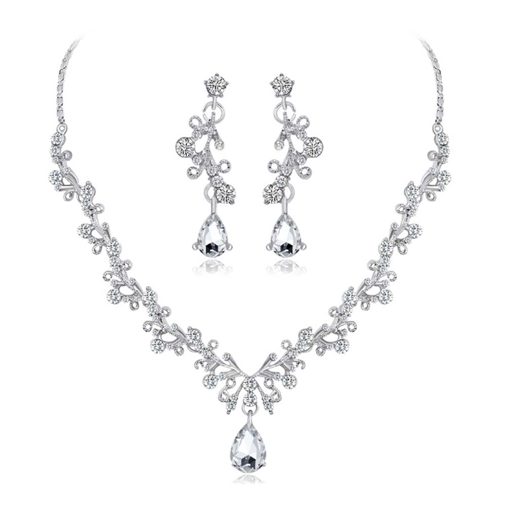 KaLaiXing Pearl Necklace Bride Diamond Jewelry Sets. Necklace Earrings Diamond Water Droplets Elegant Women Jewellery Set of Crystal Pendant Necklace+Earrings-XL10