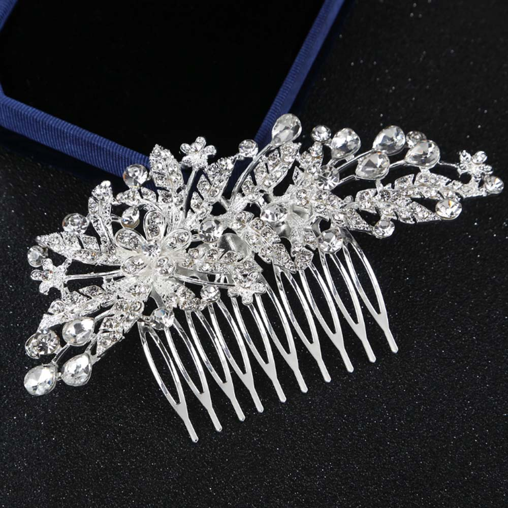 KALAIXING Bridal Hair Comb Wedding Hair Side Combs Bridal Head Pin Headpiece Crystal Pearls Flower Bride Bridesmaid-Hua25