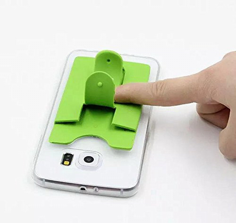 KaLaiXing 10pcs Mix Color Universal Silicone Stick on Credit Card Holder with Phone Stand