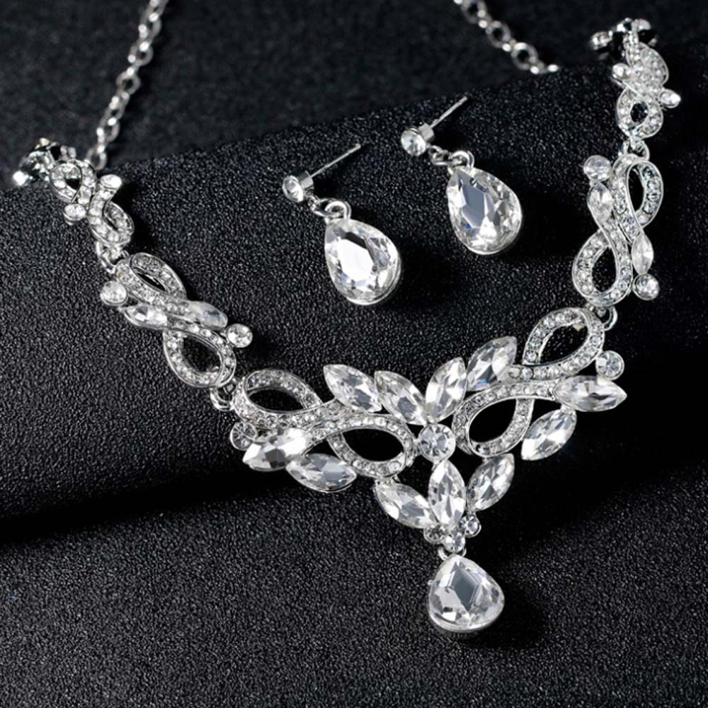 KaLaiXing Pearl Necklace Bride Diamond Jewelry Sets. Necklace Earrings Diamond Water Droplets Elegant Women Jewellery Set of Crystal Pendant Necklace+Earrings-XL11