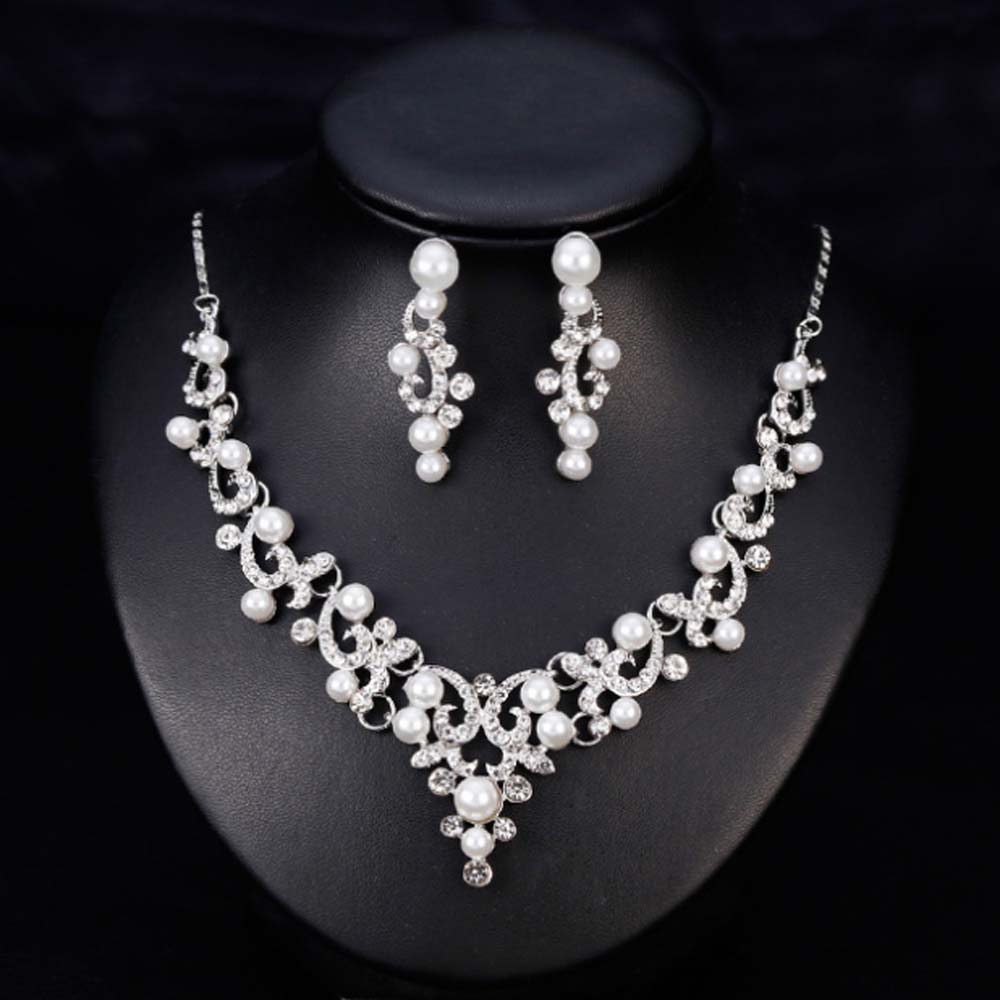 KaLaiXing Pearl Necklace Bride Diamond Jewelry Sets. Necklace Earrings Diamond Water Droplets Elegant Women Jewellery Set of Crystal Pendant Necklace+Earrings-XL06