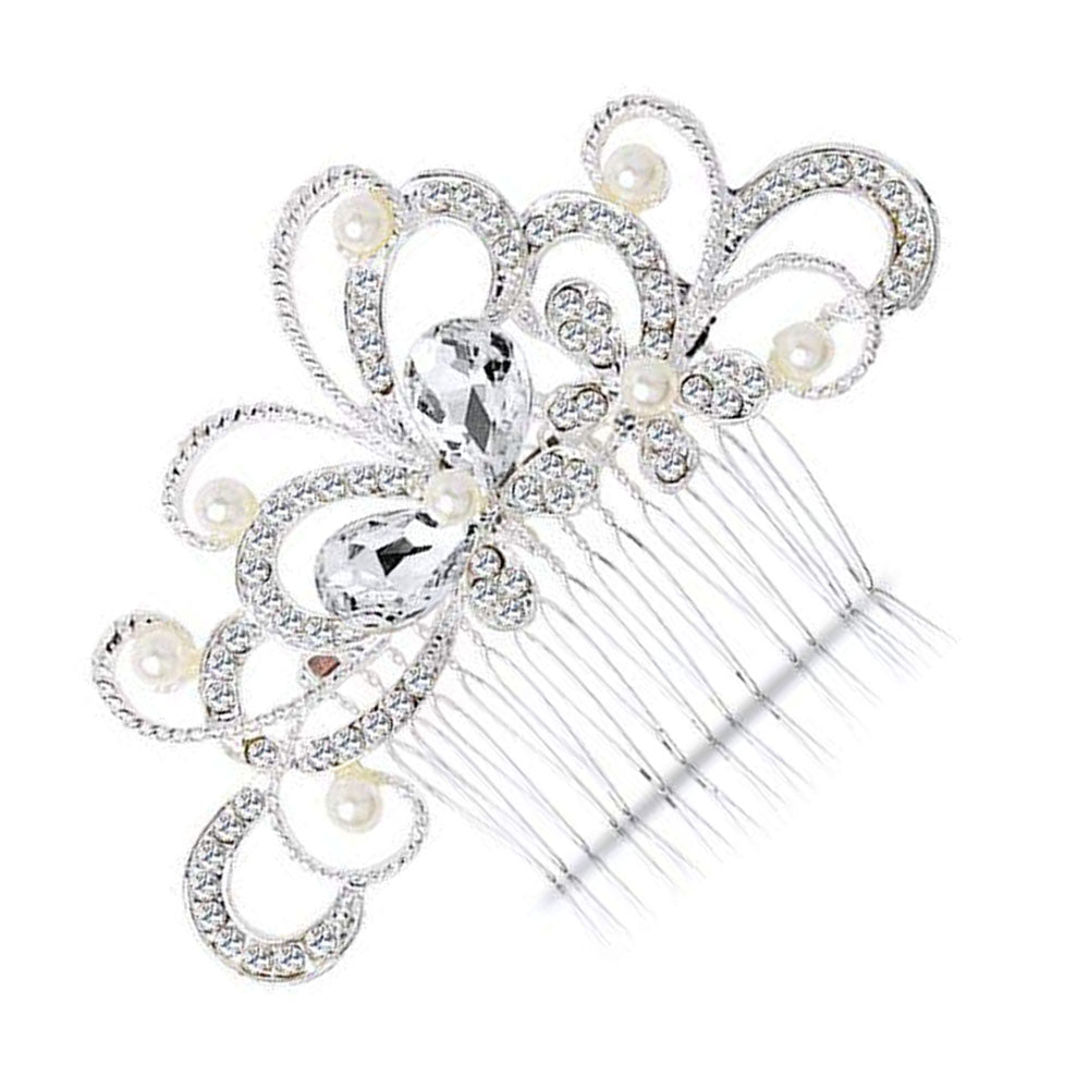 BingQing brand Hair Comb-Vintage Simulated Crystal and Pearl Side Combs Bridal Headpiece Wedding Accessories for Wedding-Hd01