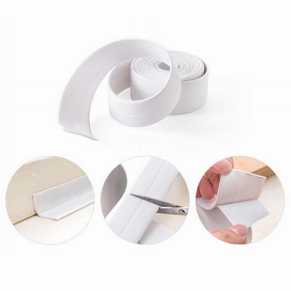 KaLaiXing brand Tub And Wall Caulk Strip. Kitchen Caulk Tape Bathroom Wall Sealing Tape Waterproof Self-Adhesive Decorative Trim--white