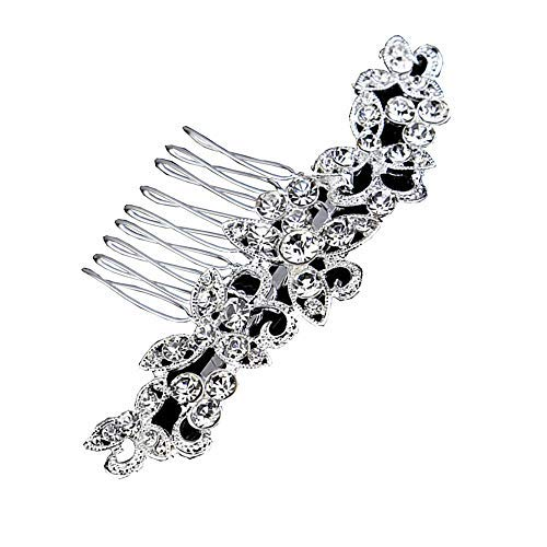 BingQing brand Hair Comb-Vintage Simulated Crystal and Pearl Side Combs Bridal Headpiece Wedding Accessories for Wedding-Hua02