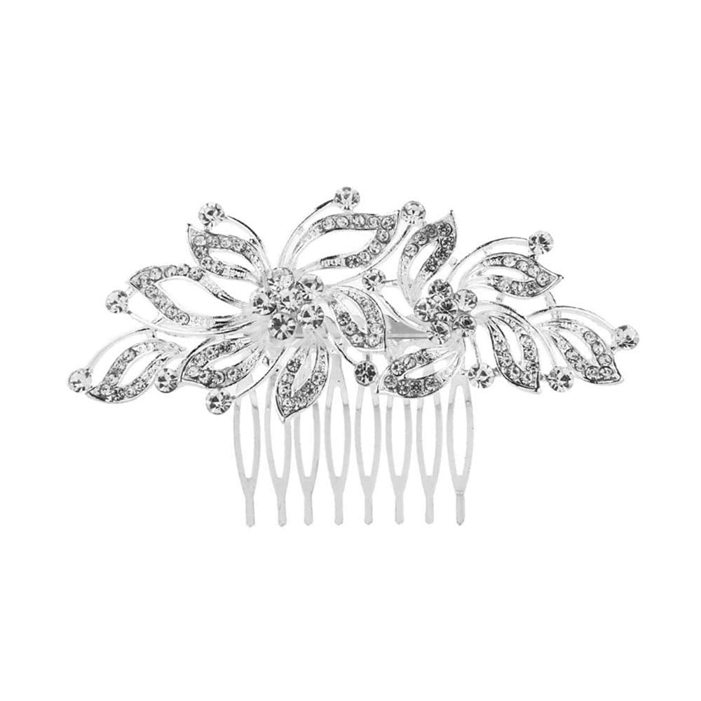 KaLaiXing Bridal Hair Comb Wedding Hair Side Combs Bridal Head Pin Headpiece Crystal Pearls Flower Bride Bridesmaid-Hua07