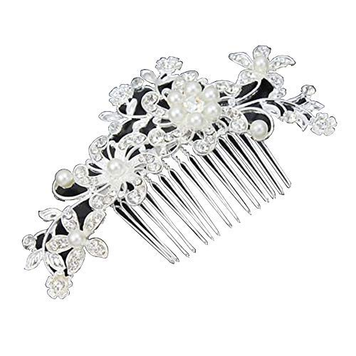 BingQing brand Hair Comb-Vintage Simulated Crystal and Pearl Side Combs Bridal Headpiece Wedding Accessories for Wedding-Hua01
