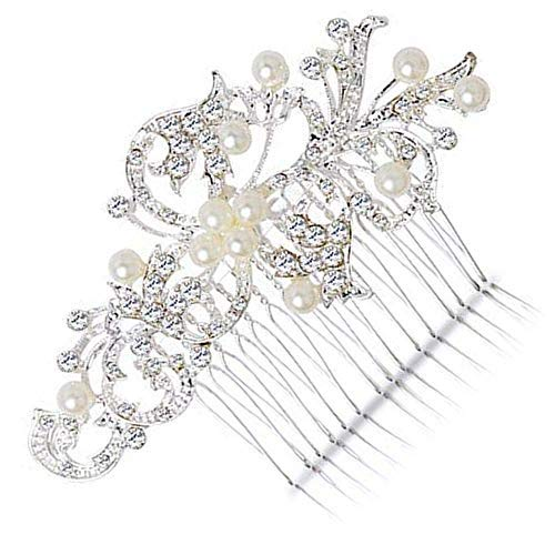 BingQing brand Hair Comb-Vintage Simulated Crystal and Pearl Side Combs Bridal Headpiece Wedding Accessories for Wedding-Ly01