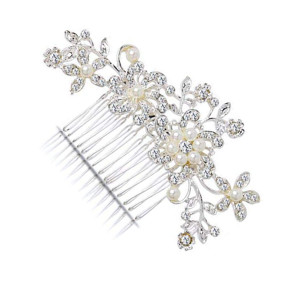 KaLaiXing Bridal Hair Comb Wedding Hair Side Combs Bridal Head Pin Headpiece Crystal Pearls Flower Bride Bridesmaid-Hua01