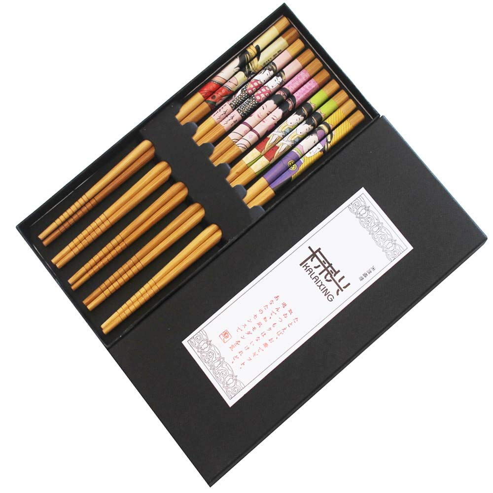 KaLaiXing Brand Five Pairs of Decorated Japanese Chopsticks-5 color-Sn05