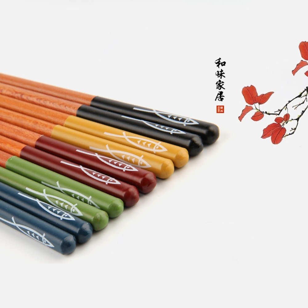 BingQing brand Five Pairs Of Decorated Japanese Chopsticks--5 color-Hw02-yu