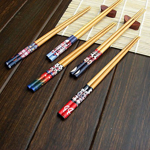 KaLaiXing Lucky Pattern. Five Pairs Of Decorated Japanese Chopsticks-5 color