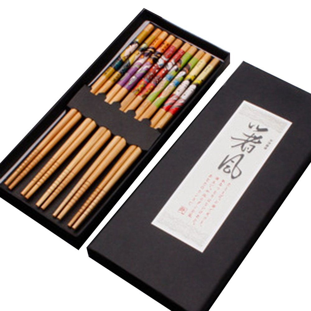 KaLaiXing Five Pairs Of Decorated Japanese Chopsticks-5 color