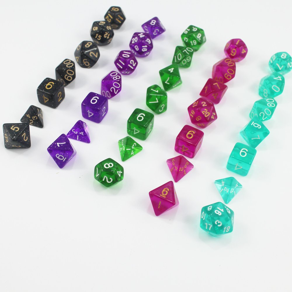 KaLaiXing® Dice- One Pound Bag- 35 Polyhedral RPG Dice- 5 Complete Sets- Velvet Pouch Included
