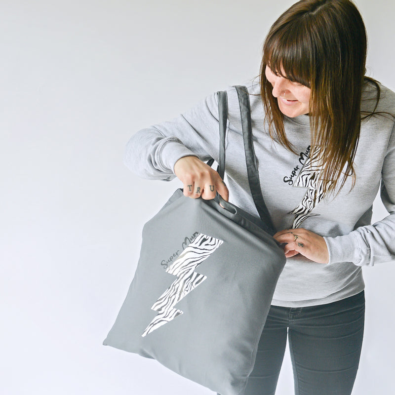 'Super Mum' Zebra Lightning Bolt Tote Bag