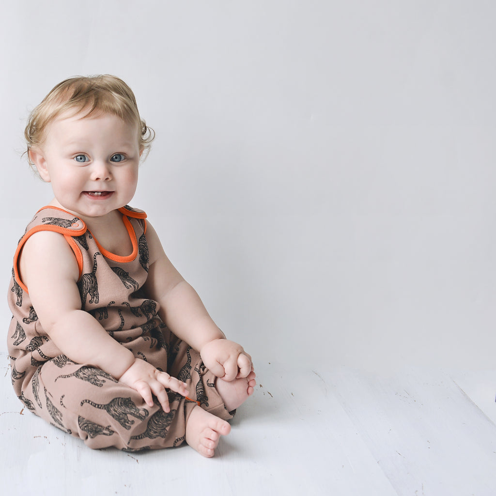 *Limited Edition* 100% Cotton Prowling Tiger Dungarees - Mocha