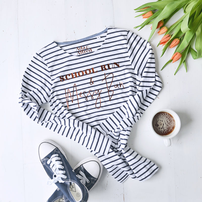 'School Run & Messy Bun' Long Sleeve Striped T-shirt - Navy/White