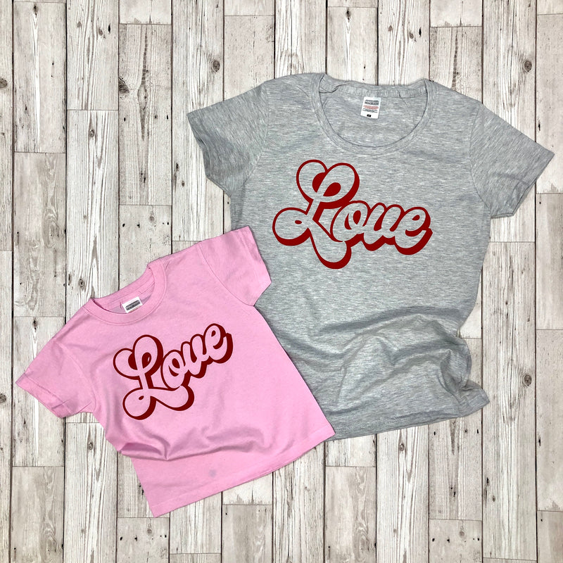 Grey/Red Ladies LOVE T-Shirt