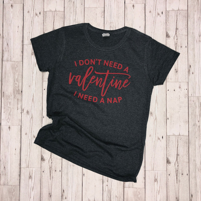 'I Need A Nap' Valentines T-Shirt - Dark Grey/Red