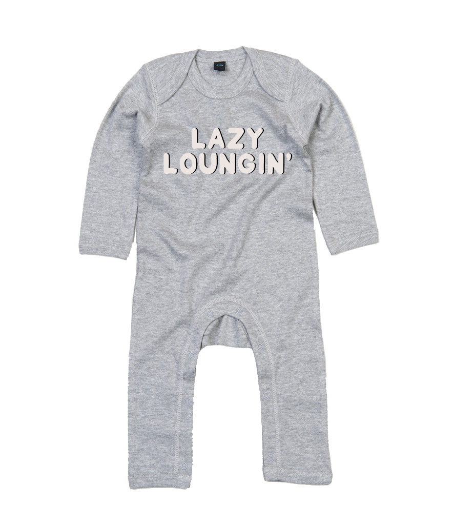 'Lazy Loungin' Baby Rompersuit - Heather Grey