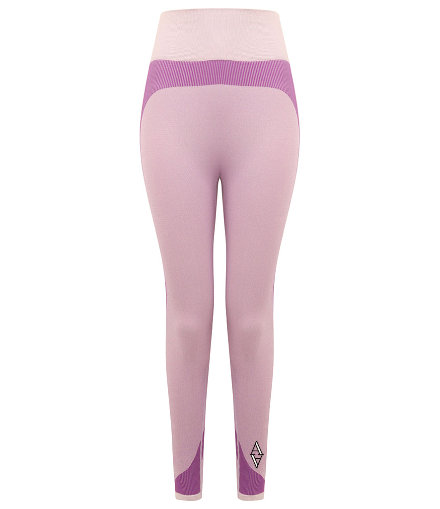 Ladies Seamless Panelled Leggings - High Waisted