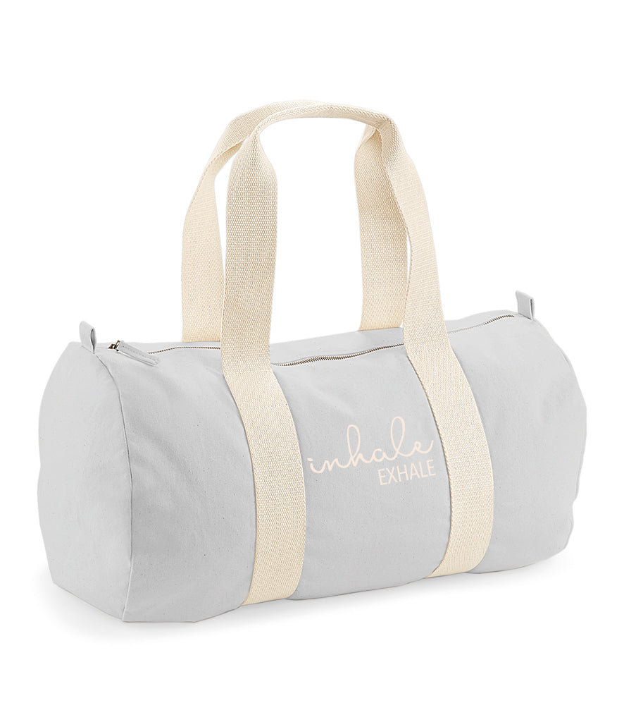 'Inhale Exhale' Organic Cotton Barrel Bag