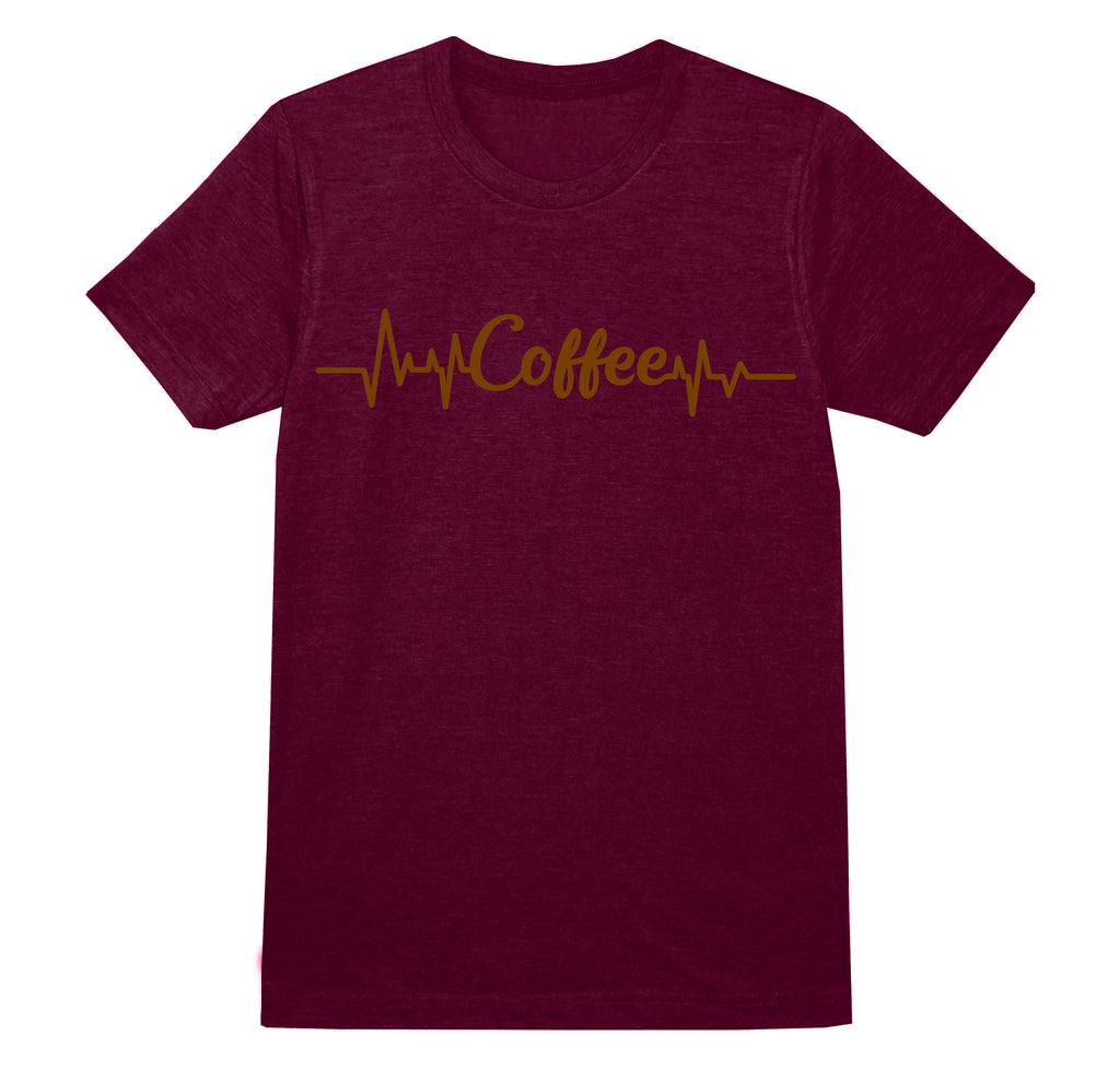 'Coffee' heartbeat slogan Ladies T-Shirt - Burgundy/Copper