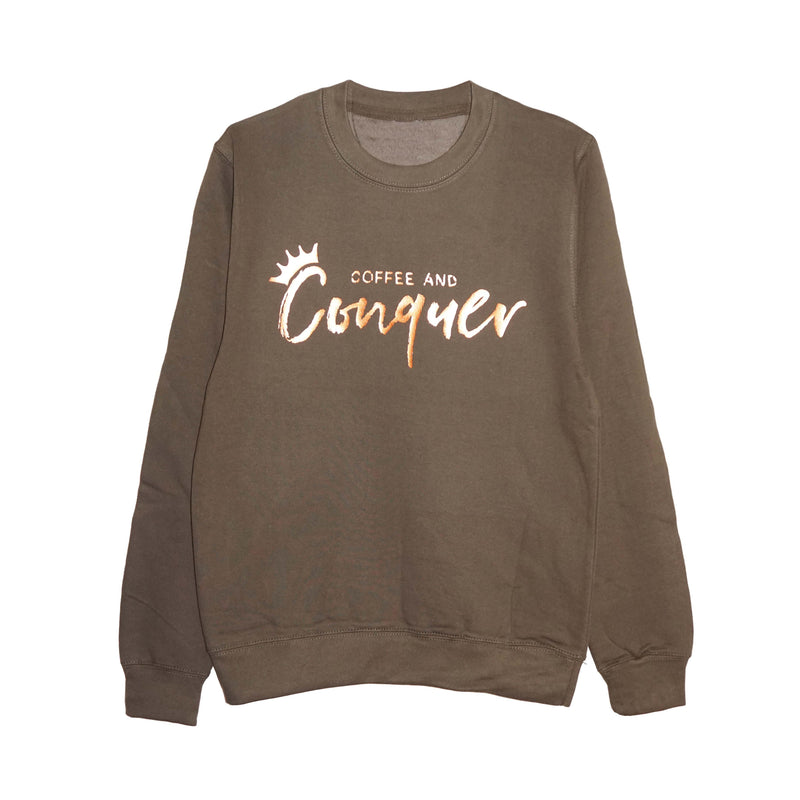'Coffee and Conquer' Unisex Sweatshirt - Olive Green/Copper