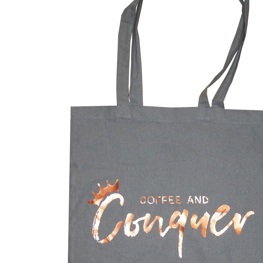 'Coffee and Conquer' 100% Cotton Tote Bag