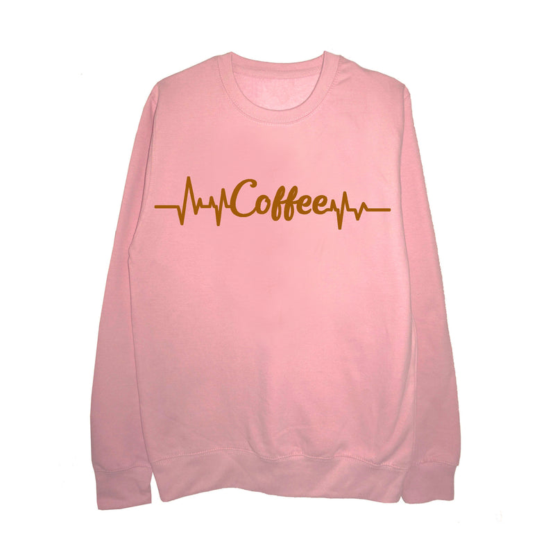 Coffee/Heartbeat Slogan Sweatshirt - Unisex Fit