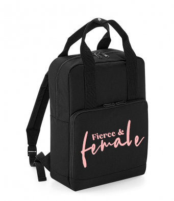 Women's Twin Handle Slogan Backpack - 4 Designs